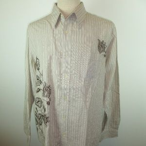 LUCKY brand tan stripe embroidered button shirt xl